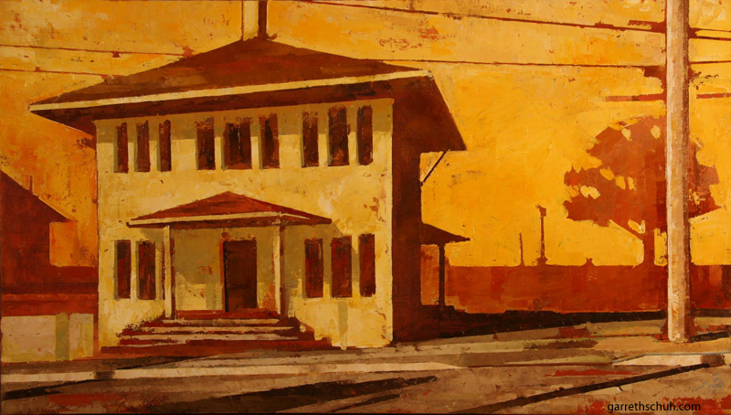 cr FARM HOUSE 30x18 oil on plywd 2010
