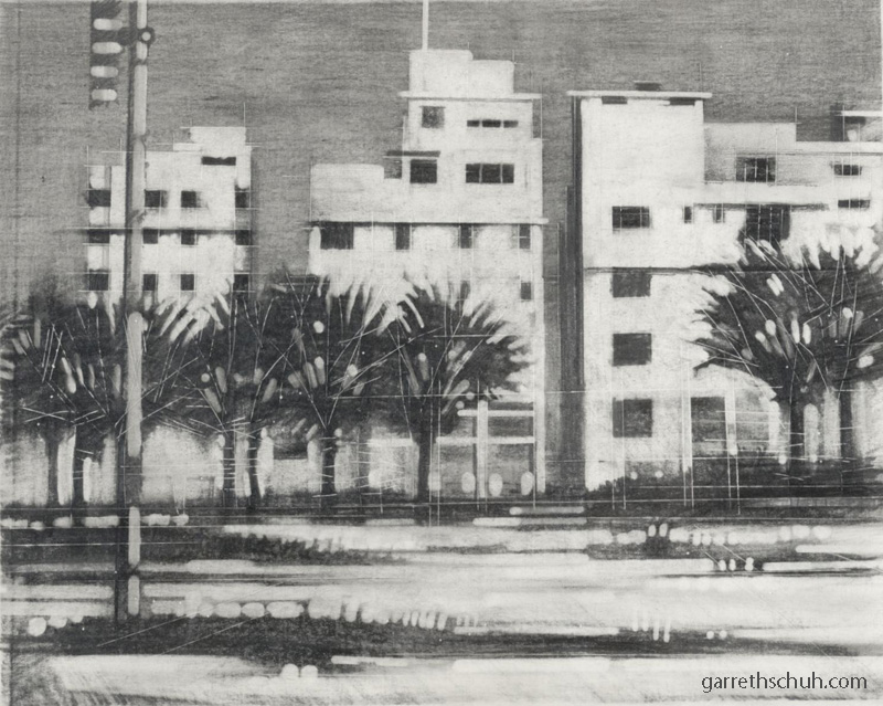 cr MIAMI ART DECO ONE 2004 11x14 graphite reduction