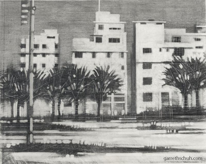 cr MIAMI ART DECO ONE 2004 11x14 graphite reduction