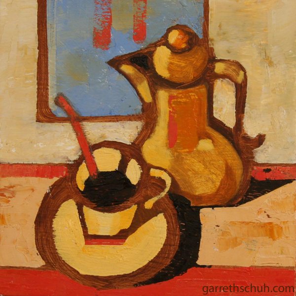 cr STILL LIFE WITH COFFEE SERVICE 2010 8X8 oil on plywd
