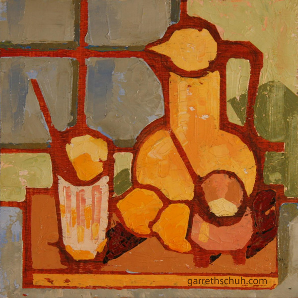 cr STILL LIFE WITH LEMONAIDE 2010 8X8 oil on plywd