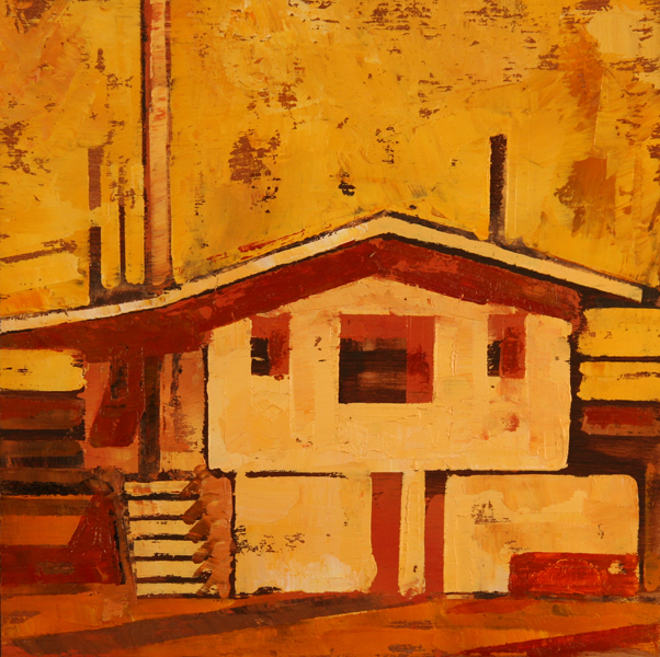 w CABIN WITH STAIRS 2011 8x8 oil on plywd