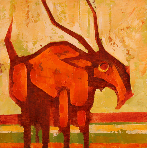 w ELK THING 2011 8x8 oil on plywd