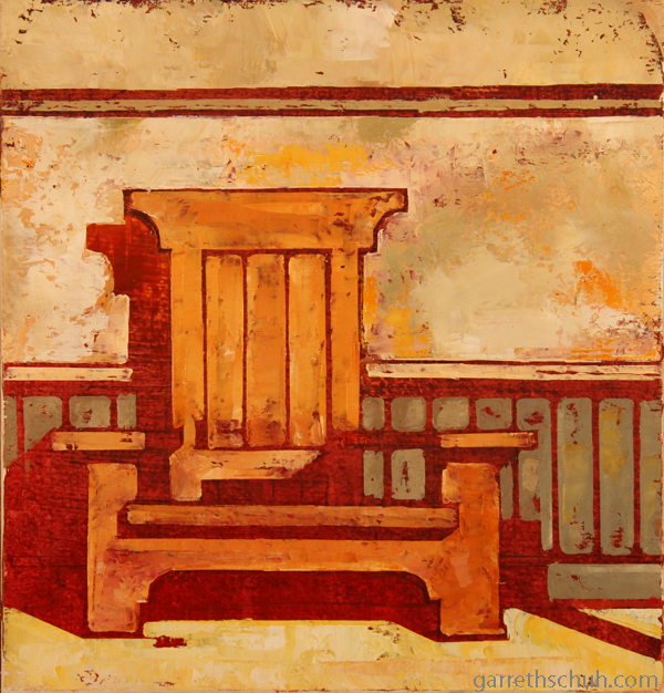 w WAINSCOT 2011 11x11 oil on wood panel