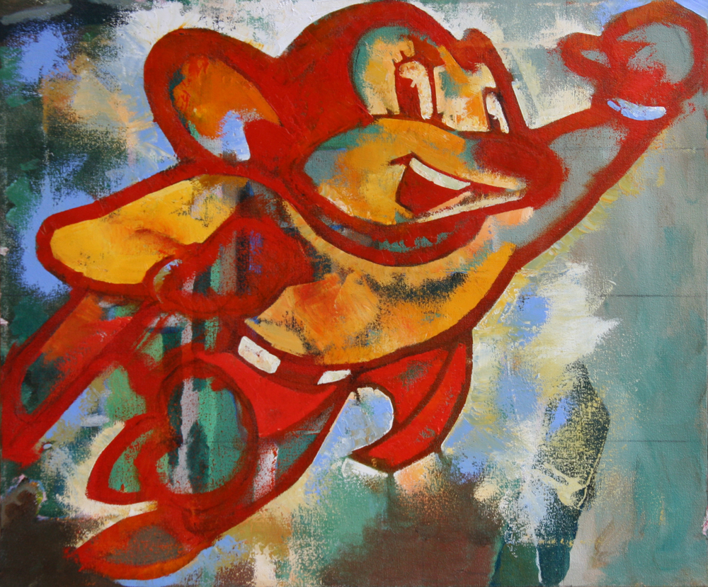 small MIGHTY MOUSE 2013 20x24 oil on canvas