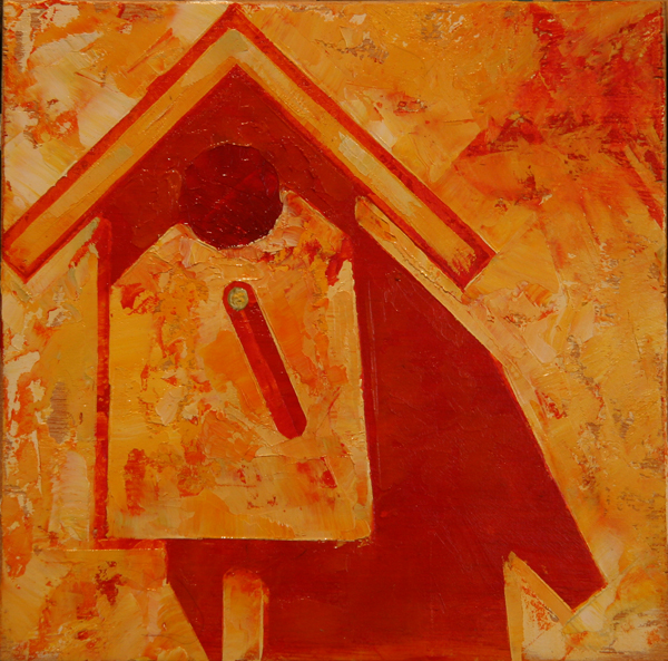 w BIRDHOUSE FOUR 2013 8X8 oil on plywood