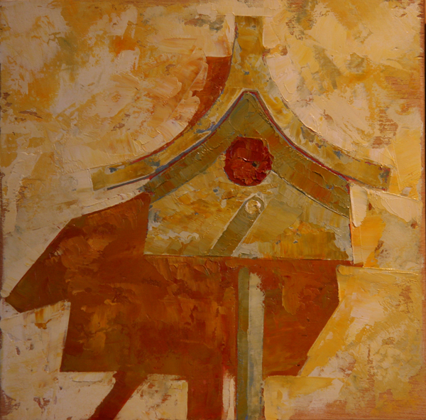 w BIRDHOUSE TWO 2013 8X8 oil on plywood