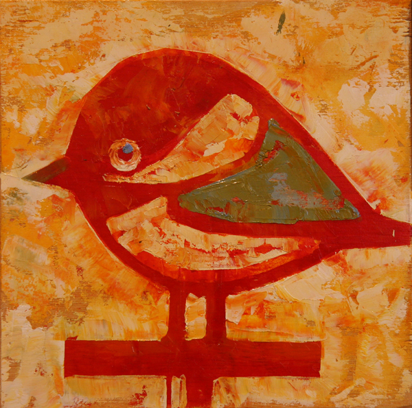 w CHICKADEE 2013 8X8 oil on plywood