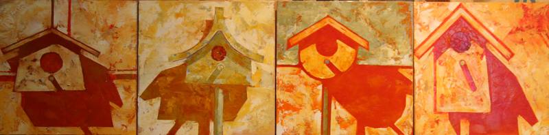 w FOUR BIRD HOUSES 2013 8X8X4 oil on plywood
