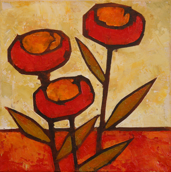 w POPPIES 2013 12X12 oil on canvas