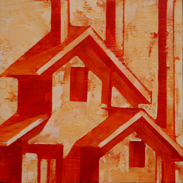 w RED ROOF 2013 8X8 oil on plywood