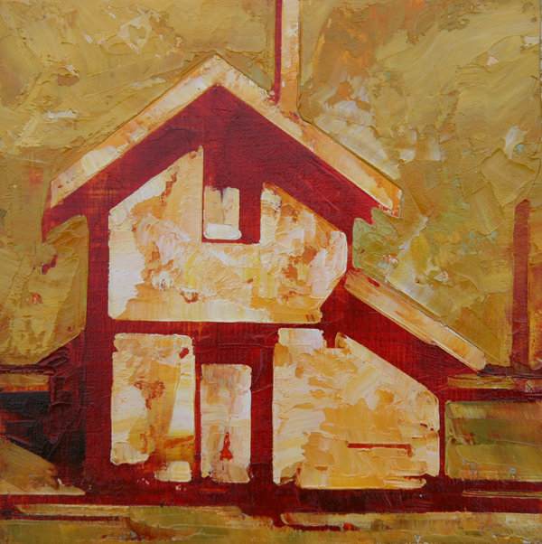 w SIDE YARD 2013 8X8 oil on plywood